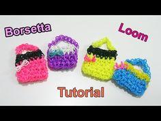 ♥Tutorial Borsetta 3D con Elastici Rainbow Loom Mini Purse /Handbag Charm (Senza Telaio )♥ - YouTube