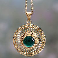Gold vermeil onyx pendant necklace, 'Whirlwind'