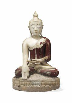 A POLYCHROMED ALABASTER FIGURE OF BUDDHA -  BURMA, CIRCA 19TH CENTURY