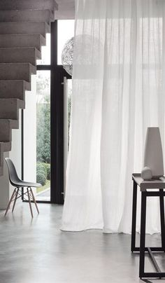 Fabric collection Casamance By Benedetti Interieur Net Curtains, Drapery Panels, Curtains With Blinds, Extra Long Curtains, Casamance, Custom Drapes, Window Dressings, Minimal Design, Stores