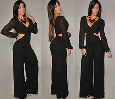 www.hotmiamistyles.com..Black_Gold_Cuff_Sleeves_Jumpsuit_