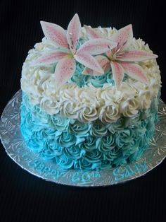 Cool cake for spring and summer, pool party elegance