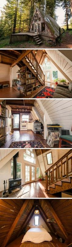 An A-frame cabin in Northern California. Love the moss growing on the roof.