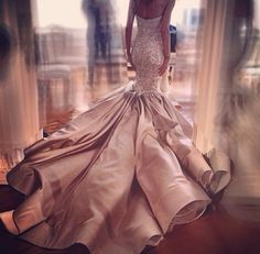 Wow wedding dress , blush wedding gown