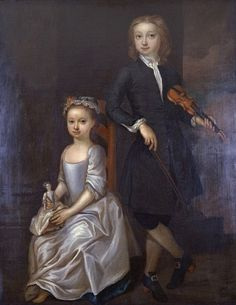 lovely image of girl with her doll ~ 18th century portrait