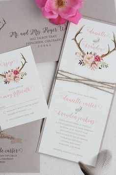 This Rustic Wedding Antler Invitation is the perfect blend of rustic and romantic featuring a beautiful antler and blush flower design on a