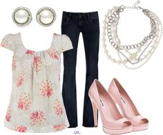 """Pink and Pearl"" by coombsie24 ❤ liked on Polyvore"
