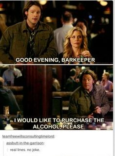 Actually I'm pretty sure he says an alcohol not the alcohol but it's funny either way