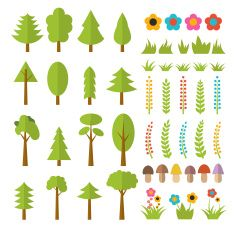 Set of flat forest elements. Include mushrooms, grass, berries vector art illustration