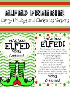 FREE ELF FUN PRINTABLE You've Been Elfed You've Been Jingled Holiday activities for kids
