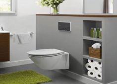Décoration toilettes vert et bleu WC suspendu Leroy Merlin ...