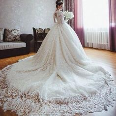Famous Designer 2015 Fall Wedding Dresses with Long Sleeves Romantic Ball Gown Lace Royal Wedding Dresses with Long Train Plus Size Bridal G Online with $701.22/Piece on Cc_bridal's Store | DHgate.com