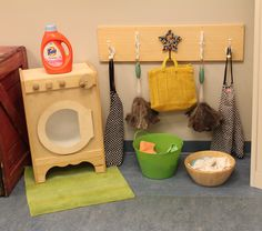 Minus the Tide bottle, which seems out of place in such a natural looking space, I really like the components of this laundry center. Kids Role Play, Role Play Areas, Toddler Play, Toddler Activities, Pretend Play, Dramatic Play Area, Dramatic Play Centers, Play Corner, Corner House