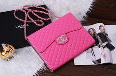 Hot Pink Popular Chanel Boy Chain Purse Handbag Style Leather Case for iPad Mini, iPad Air, iPad 2/3/4