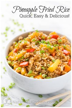Pineapple Fried Rice – A quick and easy lunch. Great way to use your leftover ri… Pineapple Fried Rice – A quick and easy lunch. Great way to use your leftover rice! Vegetarian Recipes, Cooking Recipes, Healthy Recipes, Vegan Brown Rice Recipes, Leftover Rice Recipes, Vegan Fried Rice, Rice Dishes, Food Dishes, Pineapple Fried Rice
