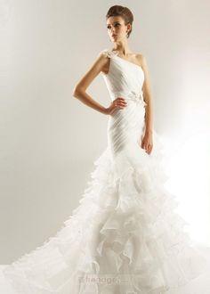 Modern Trumpet / Mermaid One Shoulder Floor-length Organza White Wedding Dresses