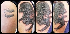 Names cover-up with this stunning Xenomorph alien by Dave. #alien #tattoos #alientattoos