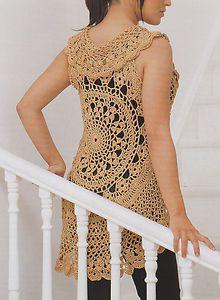 crochet circular vest pattern free | Crochet Pattern Ladies Gold Circle Vest Instructions | eBay