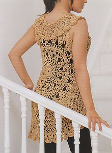 crochet circular vest pattern free | Crochet Pattern Ladies Gold Circle Vest Instructions | eBay