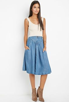 94f971de37 Contemporary Life in Progress A-Line Chambray Skirt Office Outfits,  Chambray Skirt, Denim