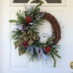 Christmas Wreath-Snowy Owl Wreath-Holiday Wreath-Winter Wreath-Reginas Garden Owl Wreath-Rustic Wreath-Snowy Evergreen Wreath  Who can resist this