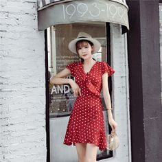 女ノースリーブ ワンピース ドレス ドット柄 フリル Vネック フレアー裾 レッド  #商品コード : 9093135 Dot Dress, Ruffle Dress, Short Sleeve Dresses, Dresses With Sleeves, Bodysuits, The Originals, Vintage, Style, Fashion