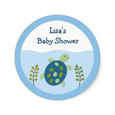 Turtle Reef Sea Turtle Baby Shower Stickers