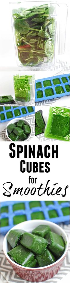 Stock your freezer with these Frozen Spinach Cubes and toss a couple into your next smoothie for a nutritional boost! The perfect way to save spinach or kale that's about to go bad!
