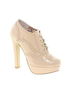 Enlarge Timeless Patent Heeled Brogues
