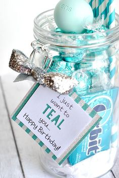 "Teal Birthday gift made with Cricut Explore! By Amber fro ""Crazy Little Projects"" DIY blog, best friend sister gift idea Thank you gift"