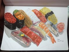 Sushi set is ready to serve.    for more work -->  https://www.facebook.com/jbiiiz  :)     #jbiiiz #art #sushi #japanese #food #watercolor #painting #drawing #love #hobby