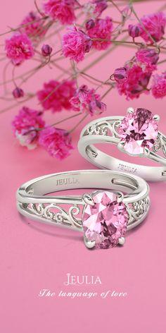 Jeulia Filigree Oval Cut Created Pink Sapphire Engagement Ring #Jeulia