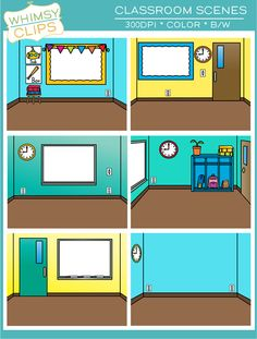 This fun set of Classroom Scenes clip art can be used to create fun settings. Each scene is in landscape format and is and is This set contains 6 classroom scenes in both color and black & white for a total of 12 image files. Classroom Clipart, Google Classroom, Classroom Decor, Black N White Images, Black White, Teacher Toolkit, Classroom Background, School Frame, Virtual Class