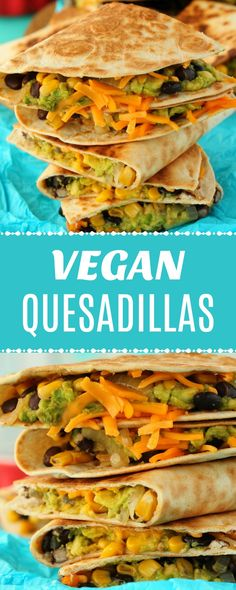 Vegan quesadillas stuffed with black beans and corn, guacamole and vegan cheese. Super filling, hearty, cheesy and very easy to make. | lovingitvegan.com