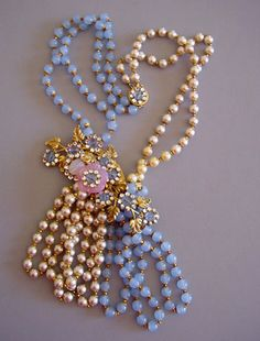 HASKELL grand parure combines pastel glass beads and faux pearls with pink glass flowers