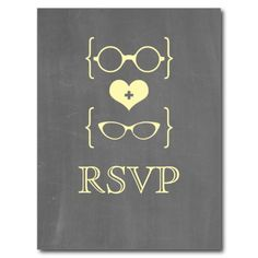 Yellow Geeky Glasses Chalkboard RSVP Postcard