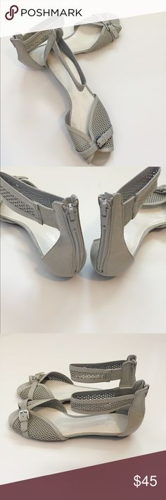Nine West Gray Leather Sandals Leather upper sandals in the color gray. Super cute & stylish net design. Size 8 1/2 M. Nine West Shoes Sandals