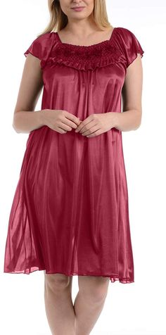5f68b64ba0 Ezi Women s Satin Silk Ruffle Nightgown
