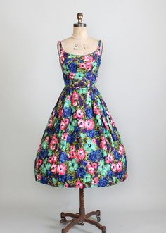 1950s saturated floral sundress.