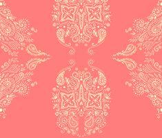 Mehndi Swirl in sweet coral fabric by beesocks on Spoonflower - custom fabric