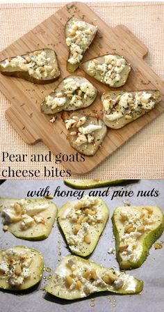 These super simple pear and goats cheese bites are the perfect addition to your tapas selection or homemade party snacks. Sweet pear, creamy cheese... Mmmm!