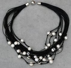 """Multi Strand Black Leather and Freshwater Pearl Necklace 19"""", White Pearl"""