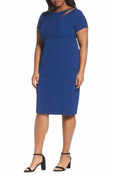 Main Image - Adrianna Papell Seam Detail Stretch Sheath Dress (Plus Size)