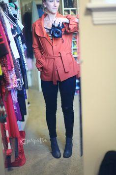flying monkey jeans, orange jacket, what i'm wearing