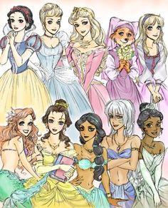 Left to Right: Snow White, Cinderella, Aurora, Maid Marian, Eilonwy, Ariel, Belle, Jasmine, Kida, and Tiana.