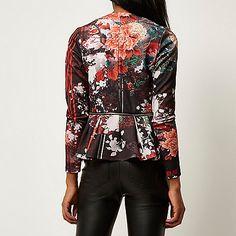 Red floral print zip peplum jacket - jackets - coats / jackets - women