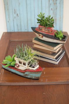 Kalalou Ceramic Boat Planters - Set Of 2