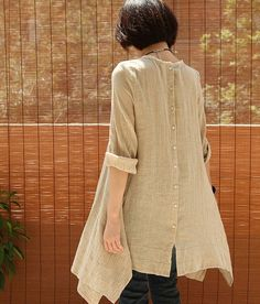 Crinkle Chest Irregular Hem Linen Tunic