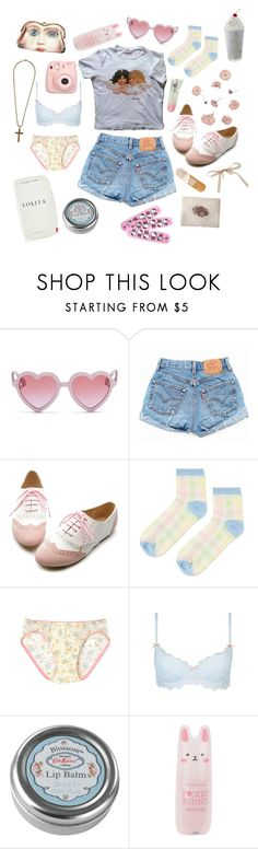 """lonely nymphet"" by lambvomit ❤ liked on Polyvore featuring Sons + Daughters, Levi's, Ollio, Topshop, Wacoal, Fujifilm, Cath Kidston, Tony Moly and Hello Kitty"