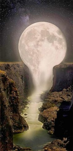 ✯ Moon Over Waterfall - Gorgeous!